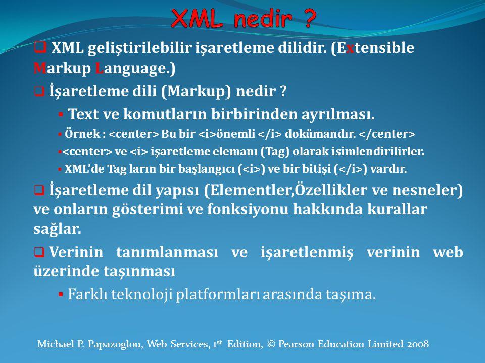 XML nedir XML geliştirilebilir işaretleme dilidir. (Extensible Markup Language.) İşaretleme dili (Markup) nedir