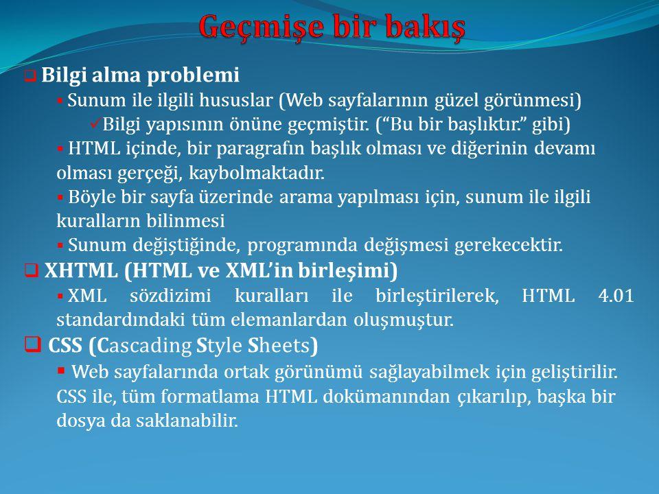 Geçmişe bir bakış XHTML (HTML ve XML'in birleşimi)