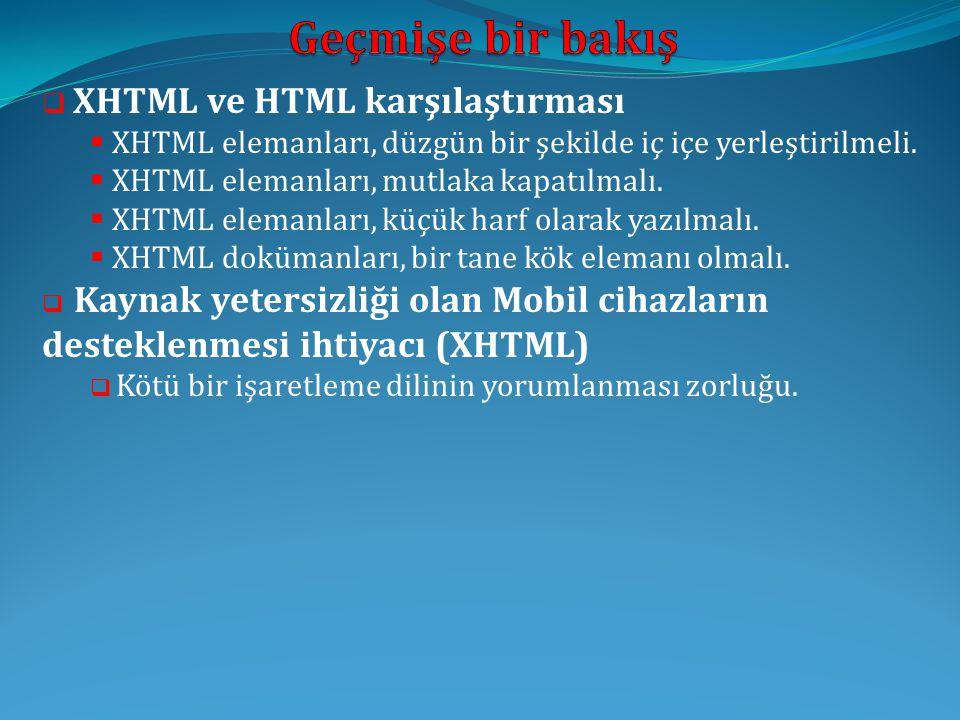 Geçmişe bir bakış XHTML ve HTML karşılaştırması