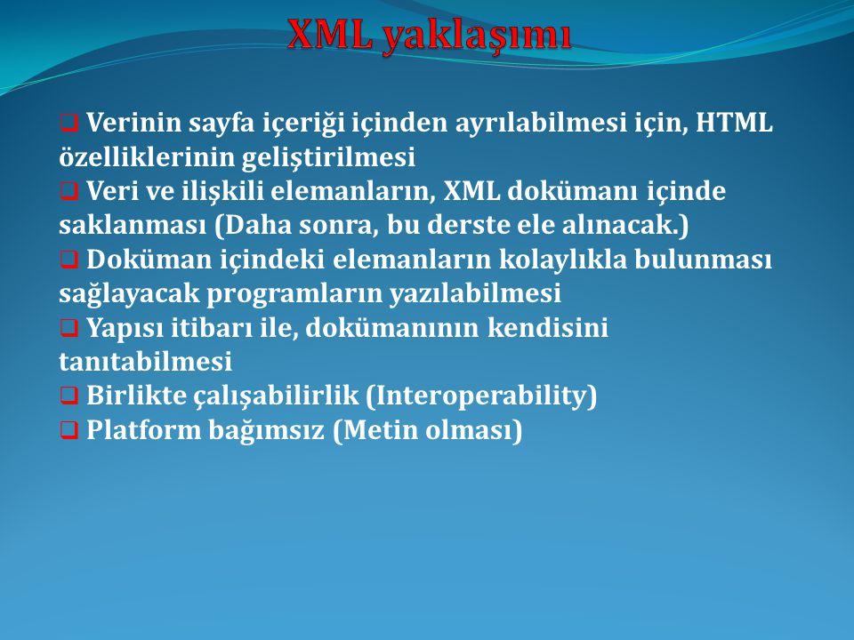 XML yaklaşımı Verinin sayfa içeriği içinden ayrılabilmesi için, HTML özelliklerinin geliştirilmesi.