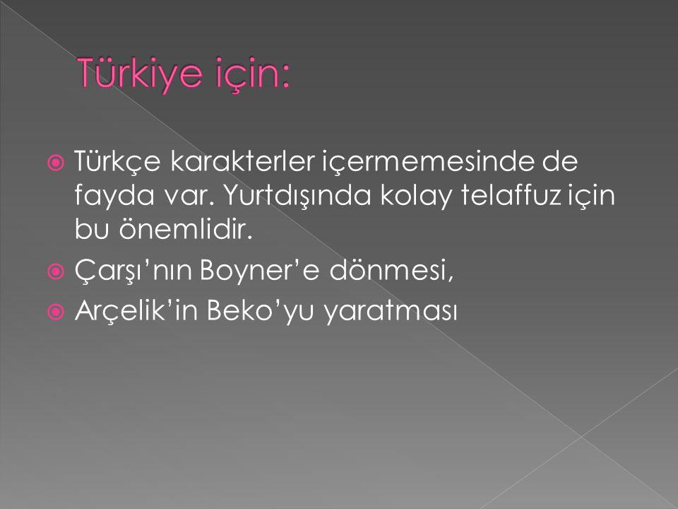 Türkiye için: Türkçe karakterler içermemesinde de fayda var. Yurtdışında kolay telaffuz için bu önemlidir.