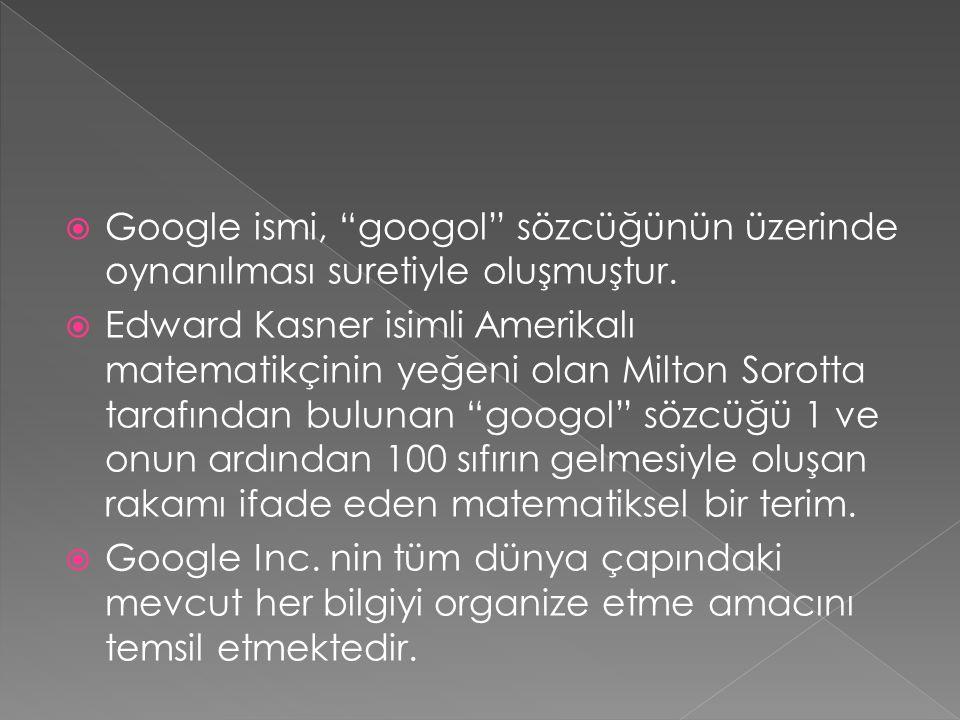 Google ismi, googol sözcüğünün üzerinde oynanılması suretiyle oluşmuştur.