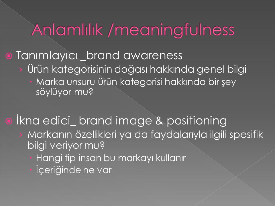 Anlamlılık /meaningfulness