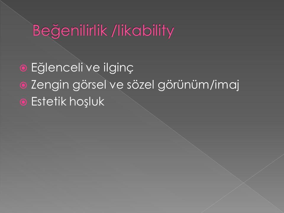 Beğenilirlik /likability