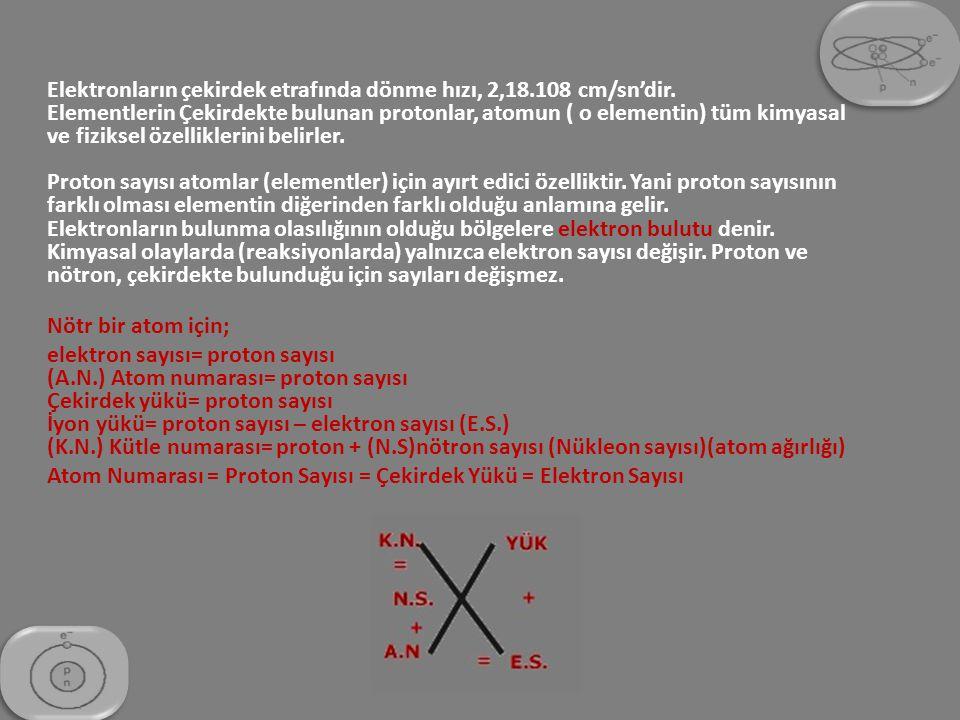 Elektronların çekirdek etrafında dönme hızı, 2,18. 108 cm/sn'dir