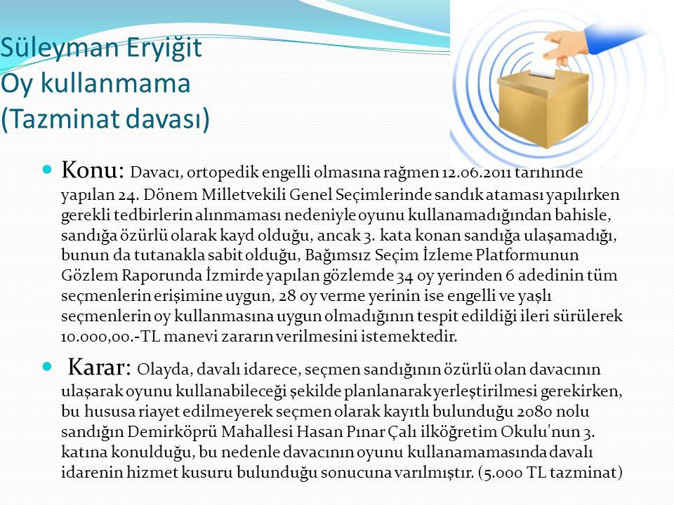 Süleyman Eryiğit Oy kullanmama (Tazminat davası)