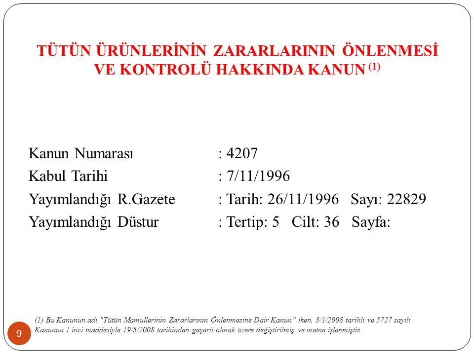 Yayımlandığı R.Gazete : Tarih: 26/11/1996 Sayı: 22829