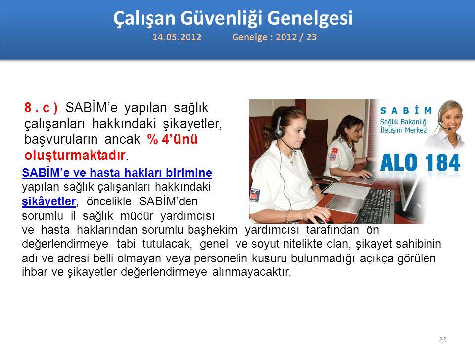 Çalışan Güvenliği Genelgesi 14.05.2012 Genelge : 2012 / 23
