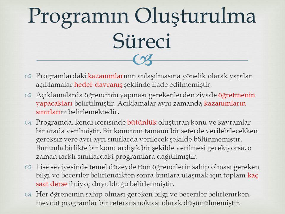Programın Oluşturulma Süreci