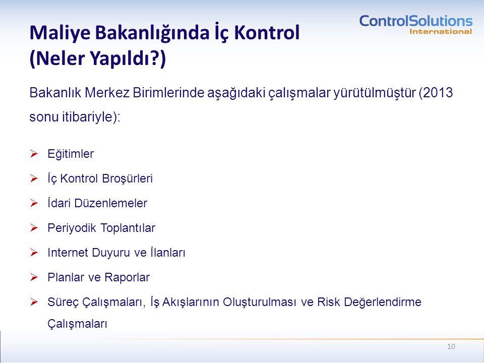 Maliye Bakanlığında İç Kontrol (Neler Yapıldı )