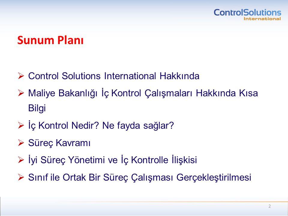 Sunum Planı Control Solutions International Hakkında