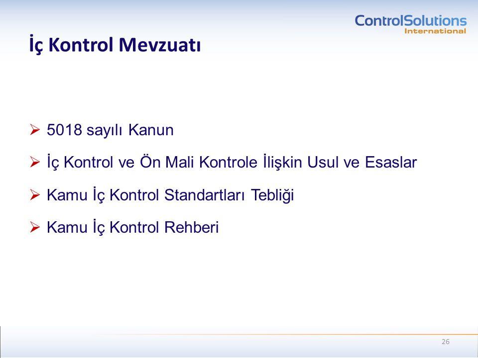 İç Kontrol Mevzuatı 5018 sayılı Kanun