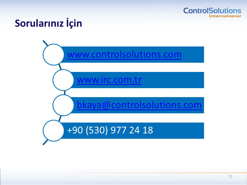 Sorularınız İçin www.controlsolutions.com www.irc.com.tr