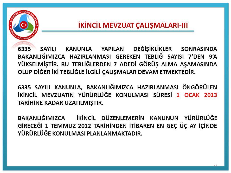 İKİNCİL MEVZUAT ÇALIŞMALARI-III