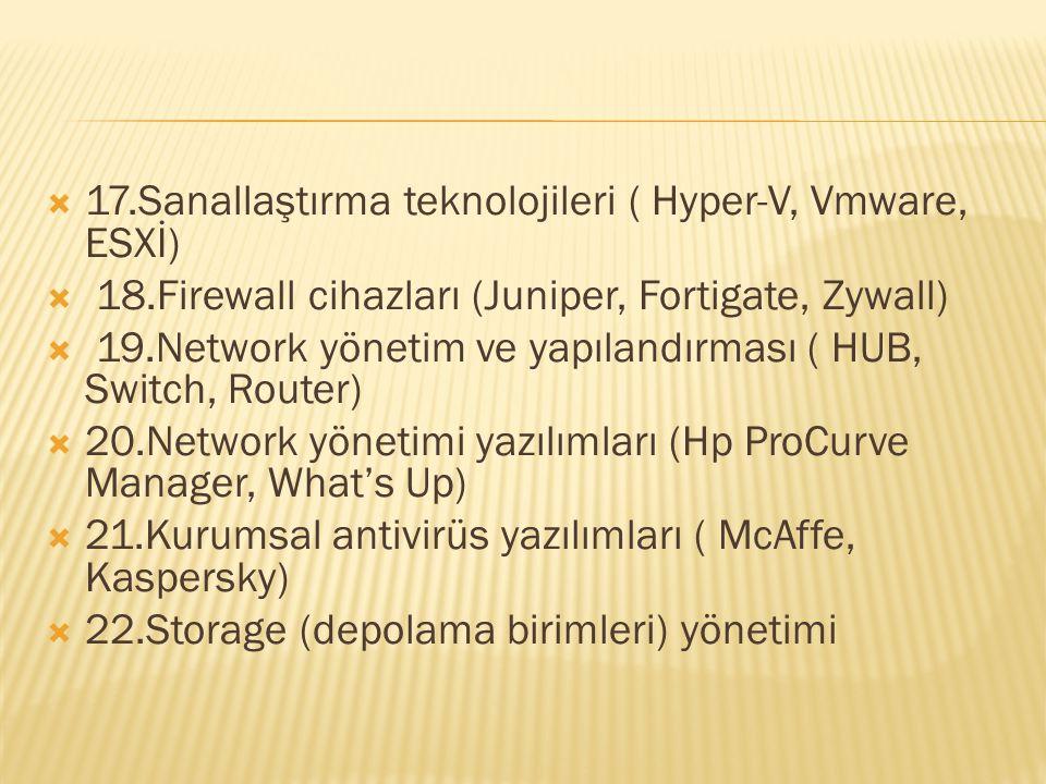 17.Sanallaştırma teknolojileri ( Hyper-V, Vmware, ESXİ)