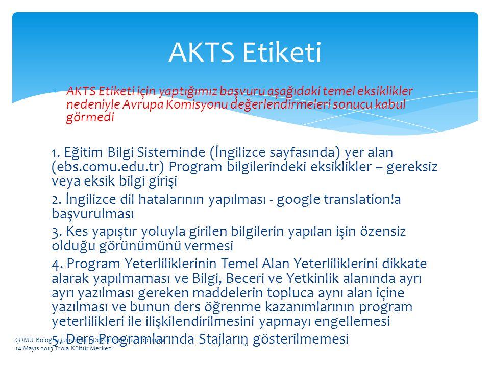 AKTS Etiketi AKTS Etiketi için yaptığımız başvuru aşağıdaki temel eksiklikler nedeniyle Avrupa Komisyonu değerlendirmeleri sonucu kabul görmedi.