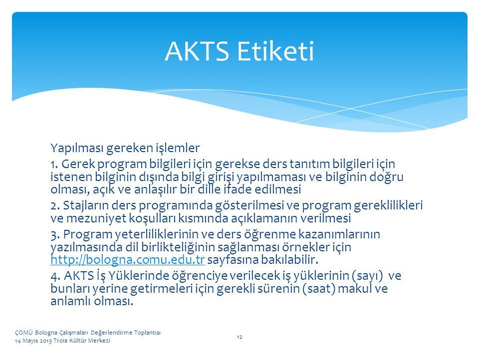 AKTS Etiketi Yapılması gereken işlemler