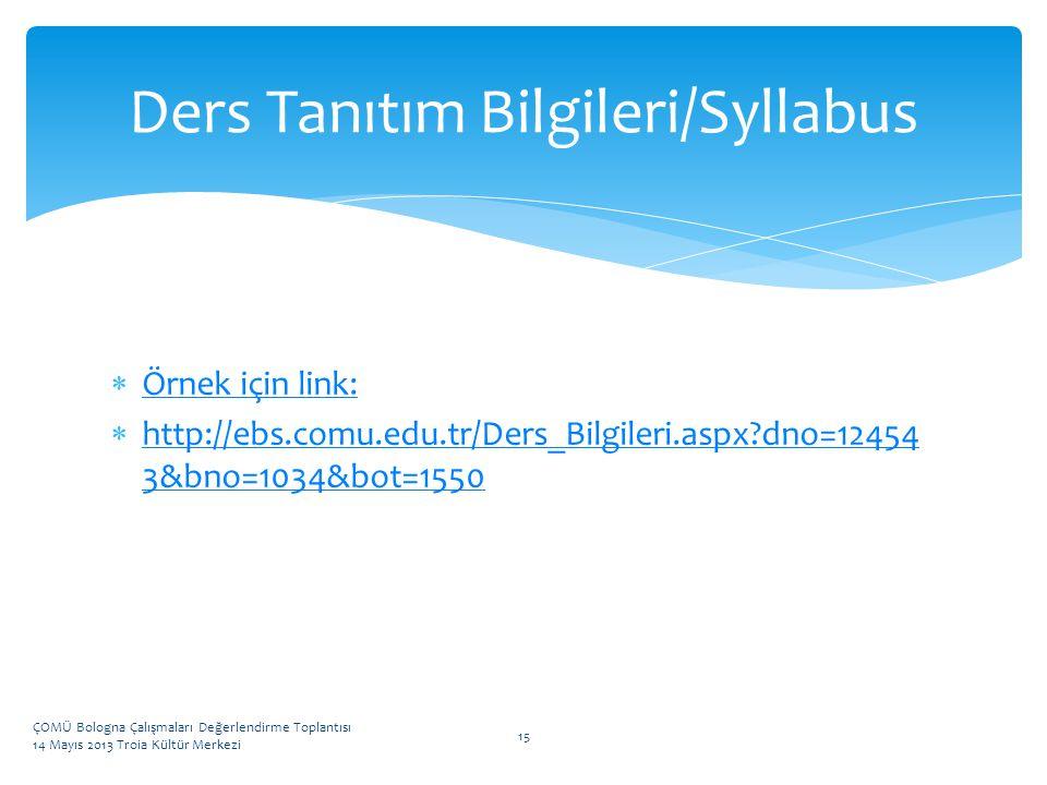 Ders Tanıtım Bilgileri/Syllabus