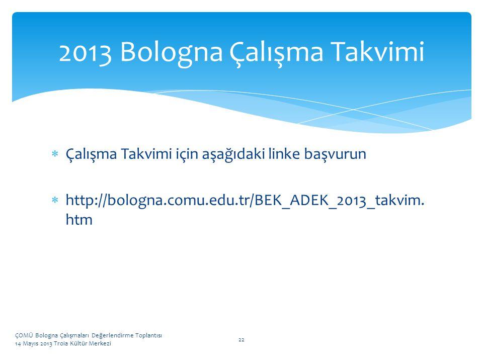 2013 Bologna Çalışma Takvimi