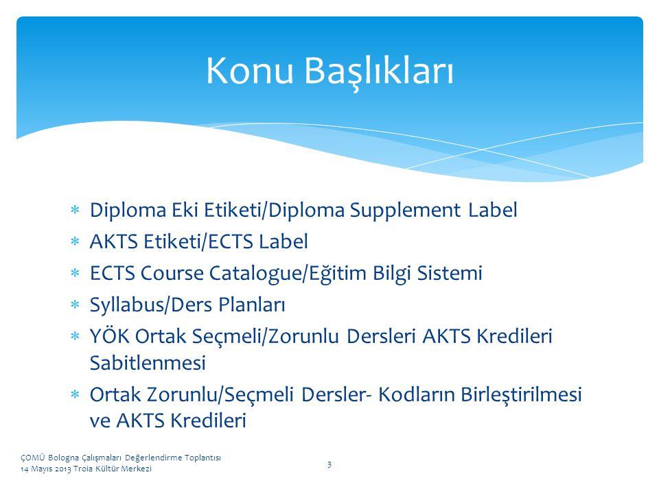 Konu Başlıkları Diploma Eki Etiketi/Diploma Supplement Label