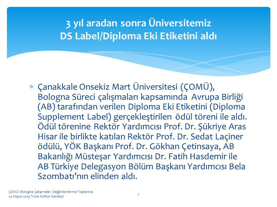 3 yıl aradan sonra Üniversitemiz DS Label/Diploma Eki Etiketini aldı