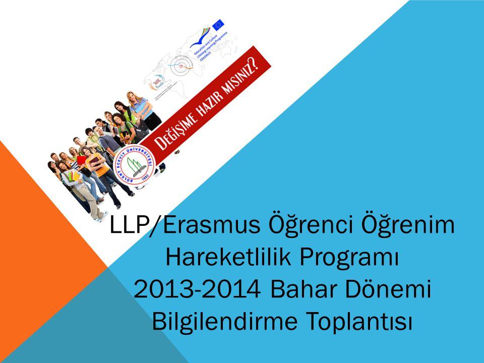 LLP/Erasmus Öğrenci Öğrenim Hareketlilik Programı