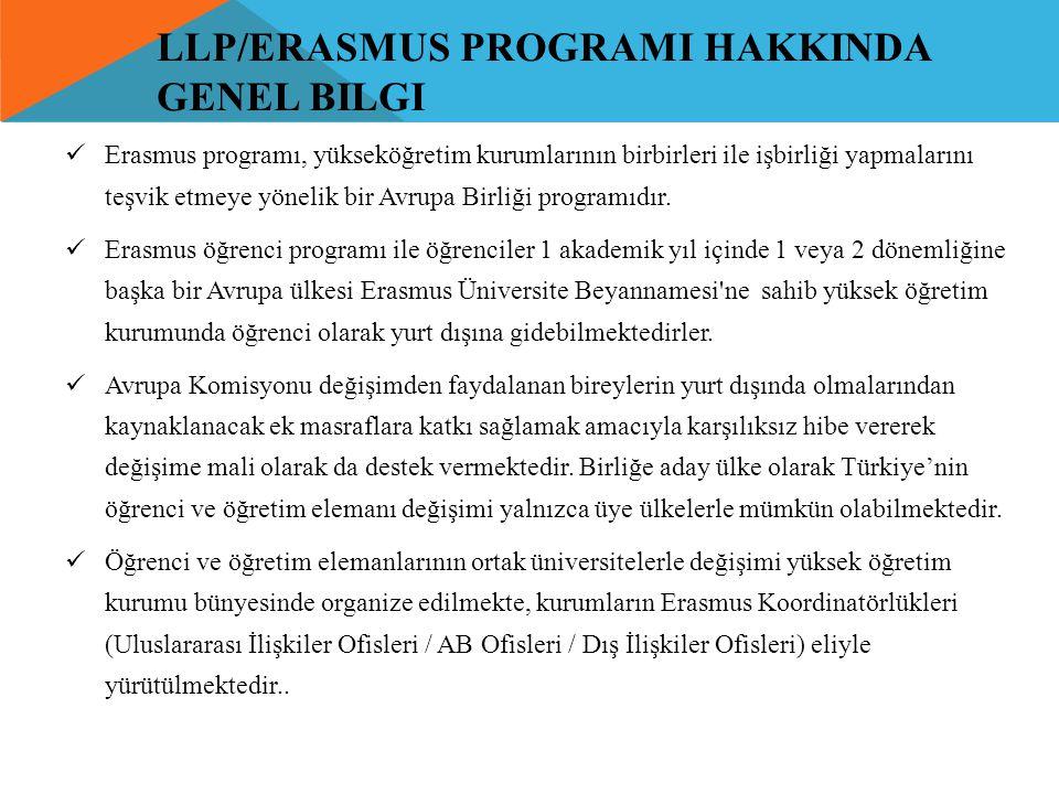 llp/erasmus programI hakkinda genel bilgi