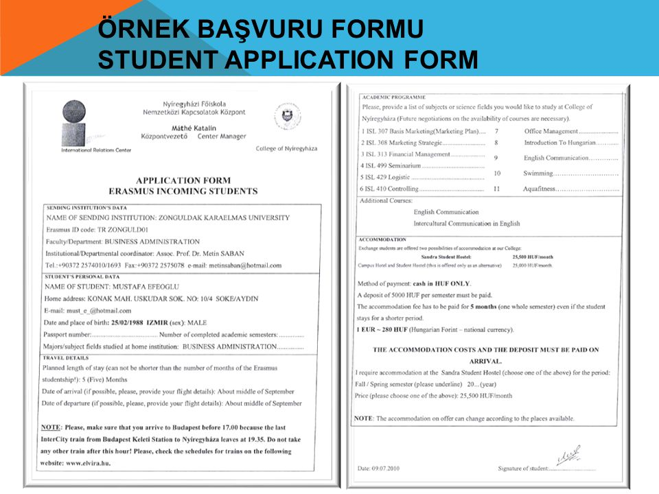 Örnek Başvuru formu Student Application Form