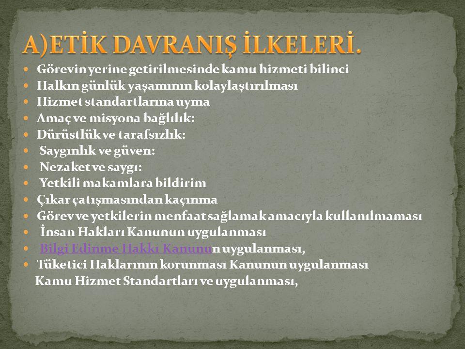 A)ETİK DAVRANIŞ İLKELERİ.