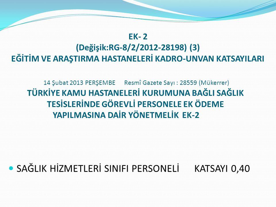 SAĞLIK HİZMETLERİ SINIFI PERSONELİ KATSAYI 0,40