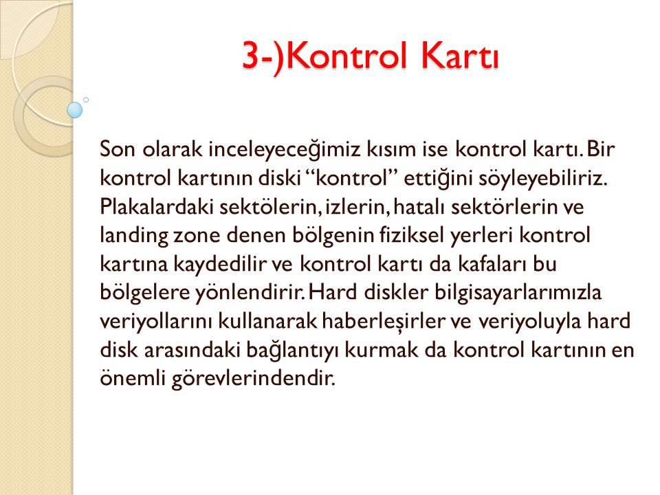 3-)Kontrol Kartı