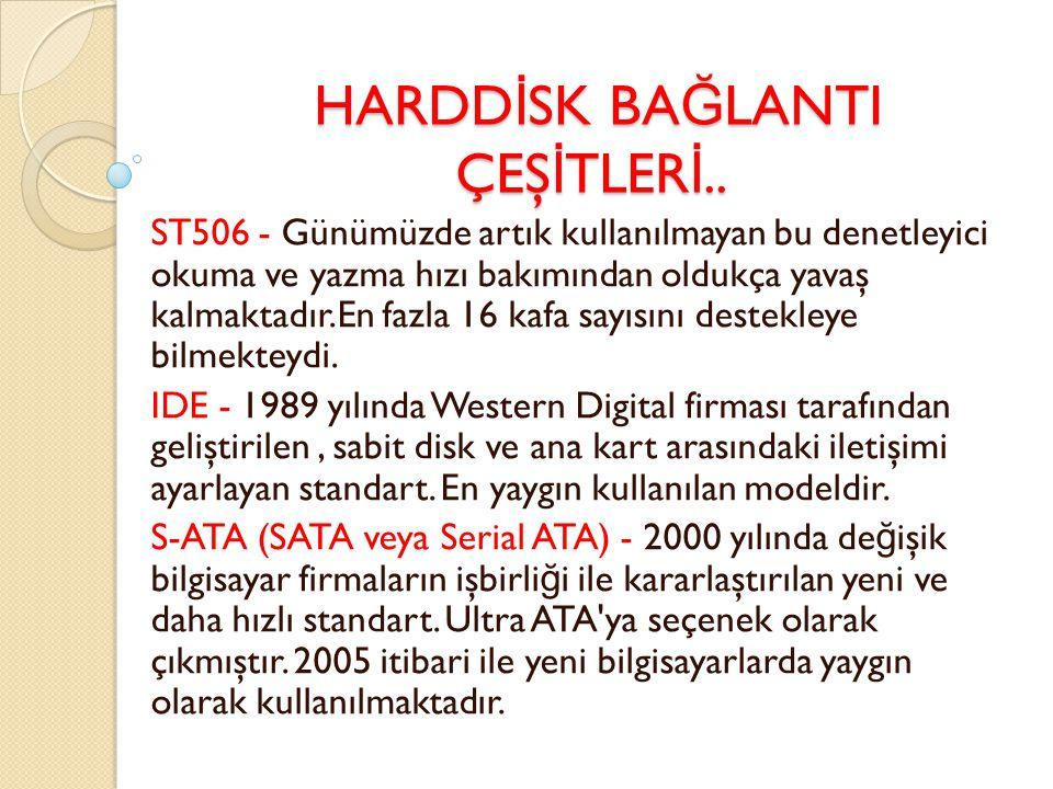HARDDİSK BAĞLANTI ÇEŞİTLERİ..