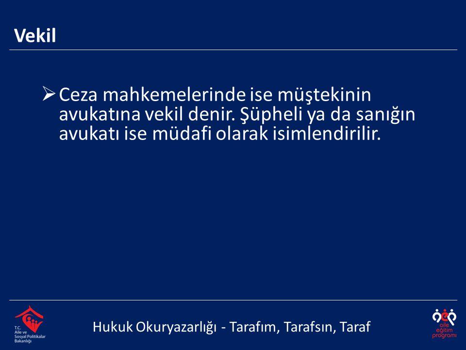 Vekil Ceza mahkemelerinde ise müştekinin avukatına vekil denir. Şüpheli ya da sanığın avukatı ise müdafi olarak isimlendirilir.