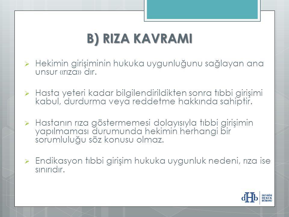B) RIZA KAVRAMI Hekimin girişiminin hukuka uygunluğunu sağlayan ana unsur «rıza» dır.