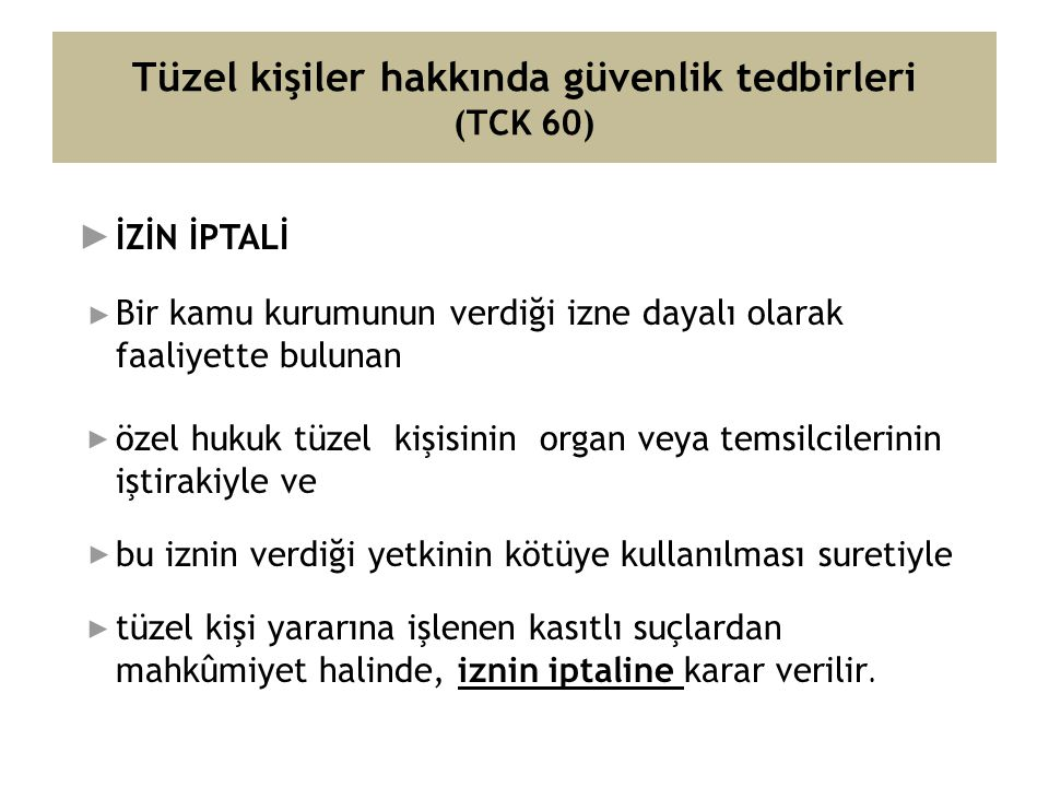 Tüzel kişiler hakkında güvenlik tedbirleri (TCK 60)
