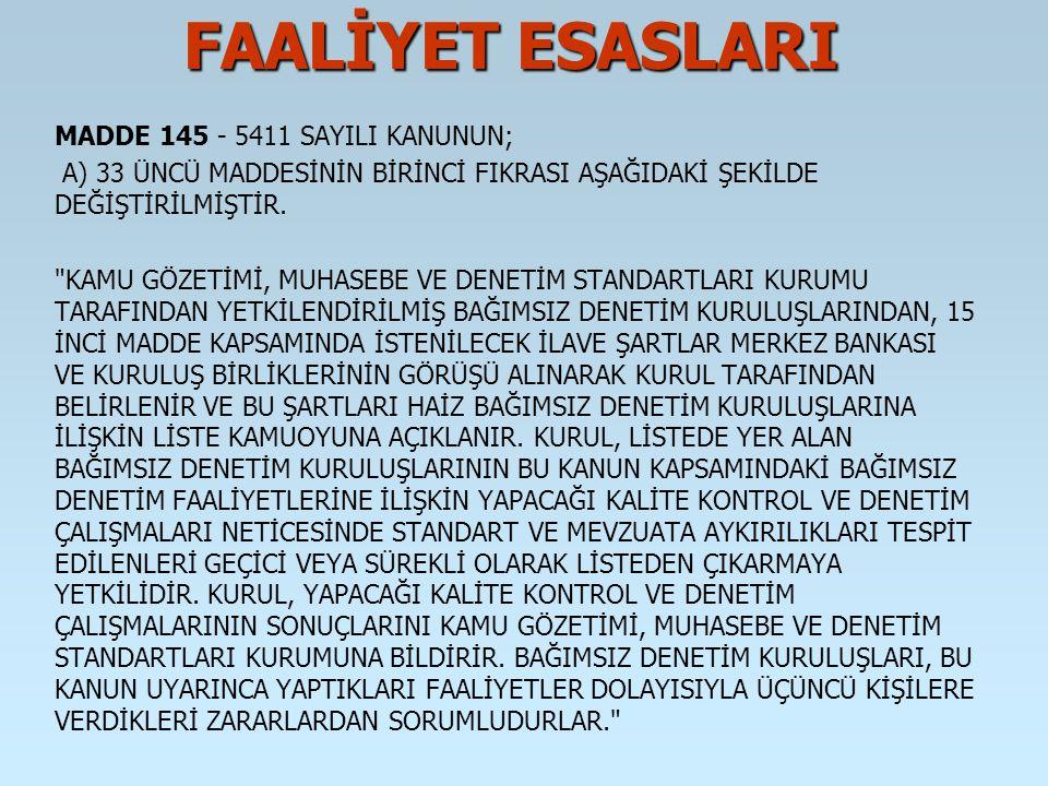 FAALİYET ESASLARI MADDE 145 - 5411 SAYILI KANUNUN;