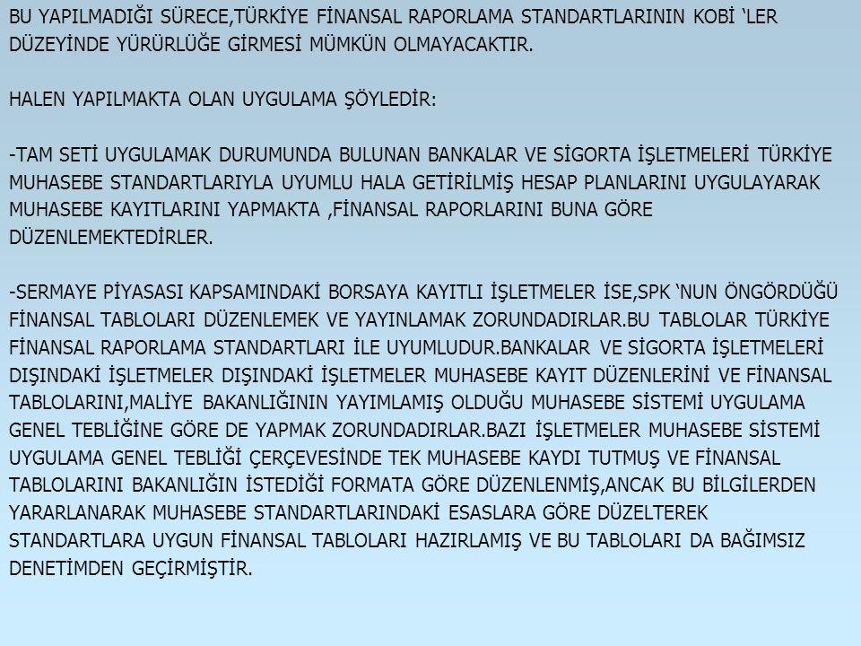 BU YAPILMADIĞI SÜRECE,TÜRKİYE FİNANSAL RAPORLAMA STANDARTLARININ KOBİ 'LER