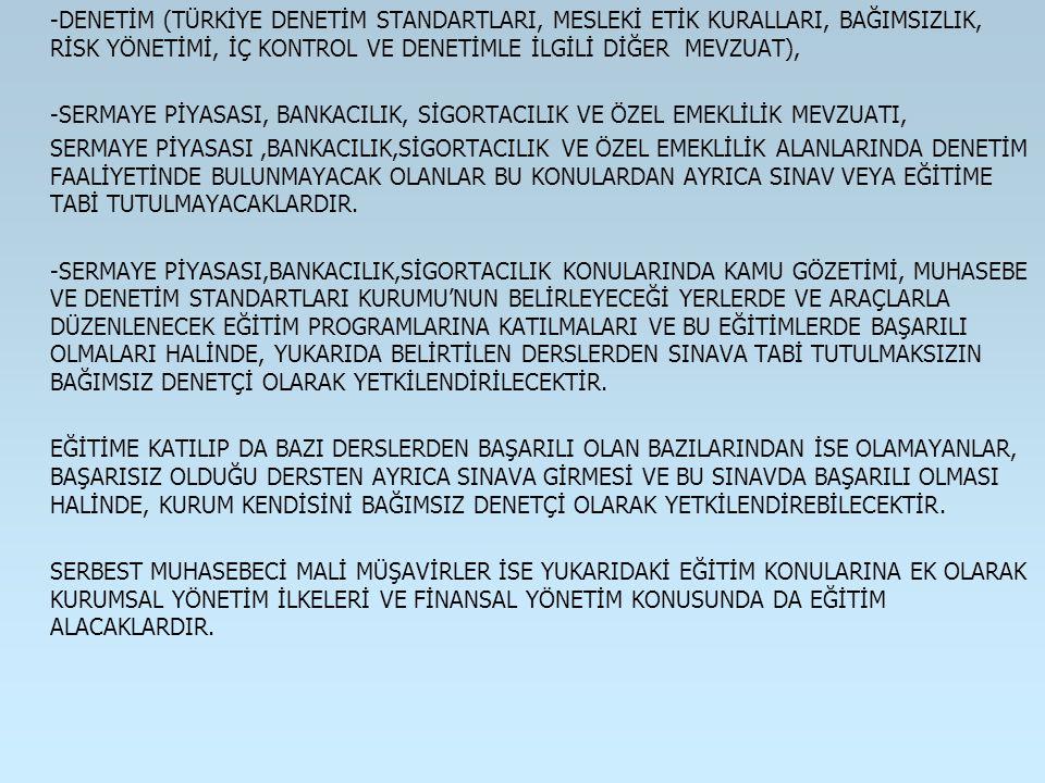 -DENETİM (TÜRKİYE DENETİM STANDARTLARI, MESLEKİ ETİK KURALLARI, BAĞIMSIZLIK, RİSK YÖNETİMİ, İÇ KONTROL VE DENETİMLE İLGİLİ DİĞER MEVZUAT),