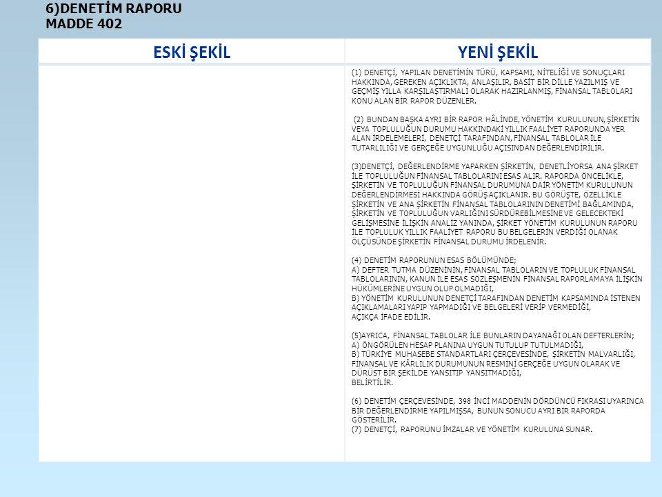 ESKİ ŞEKİL YENİ ŞEKİL 6)DENETİM RAPORU MADDE 402