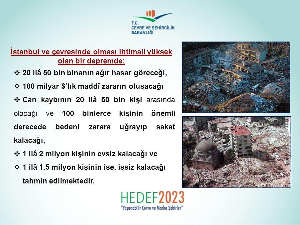 İstanbul ve çevresinde olması ihtimali yüksek olan bir depremde;