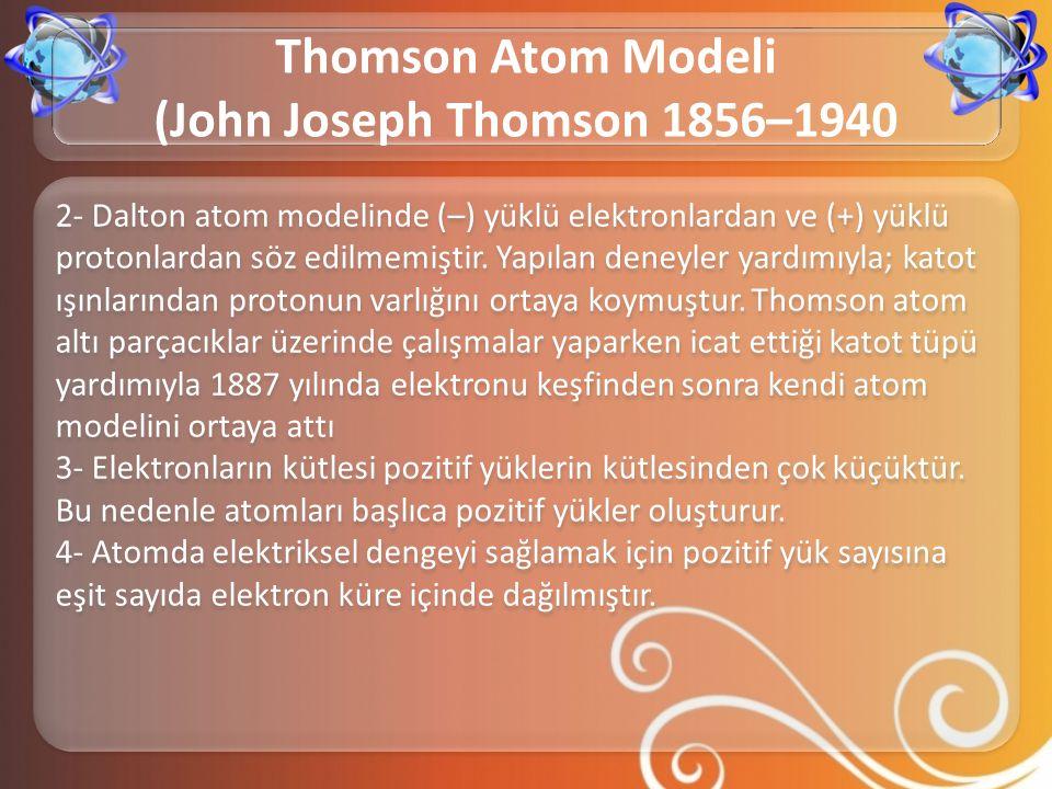 Thomson Atom Modeli (John Joseph Thomson 1856–1940