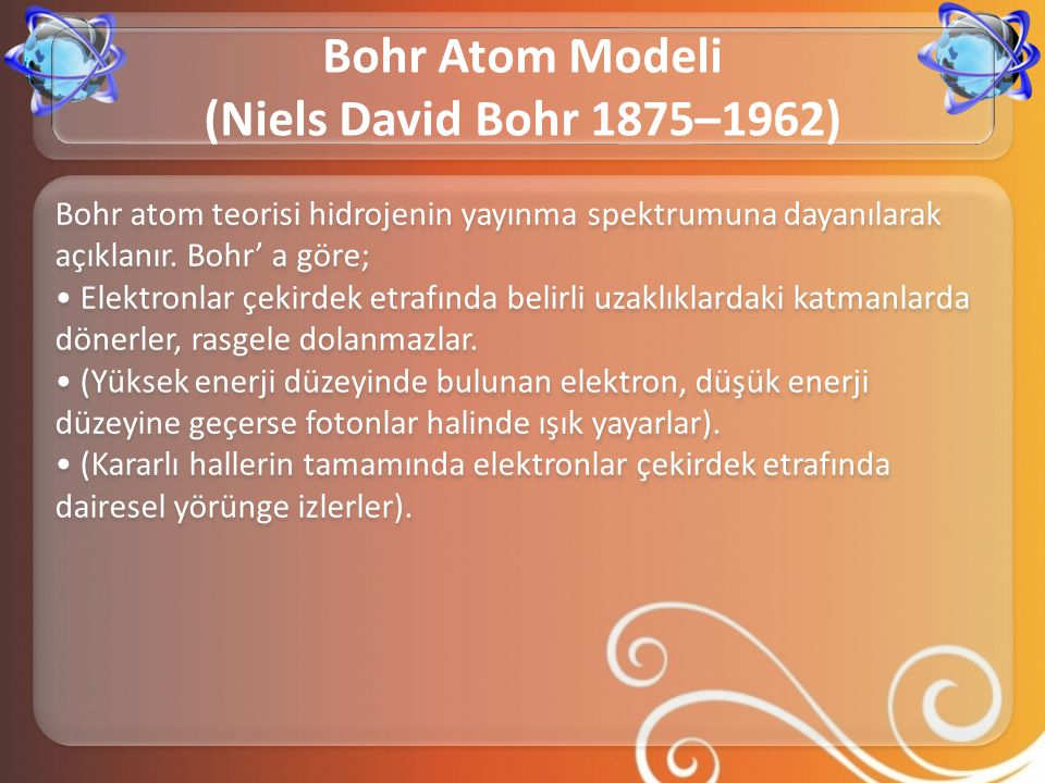 Bohr Atom Modeli (Niels David Bohr 1875–1962)
