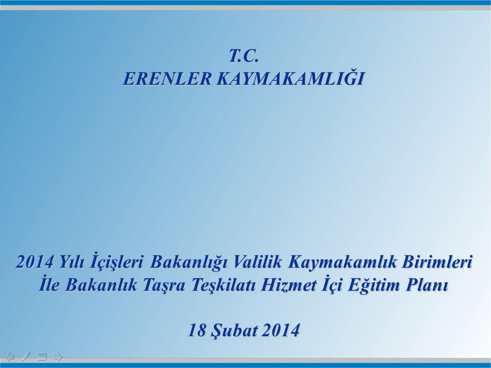 T.C. ERENLER KAYMAKAMLIĞI. 2014 Yılı İçişleri Bakanlığı Valilik Kaymakamlık Birimleri İle Bakanlık Taşra Teşkilatı Hizmet İçi Eğitim Planı.