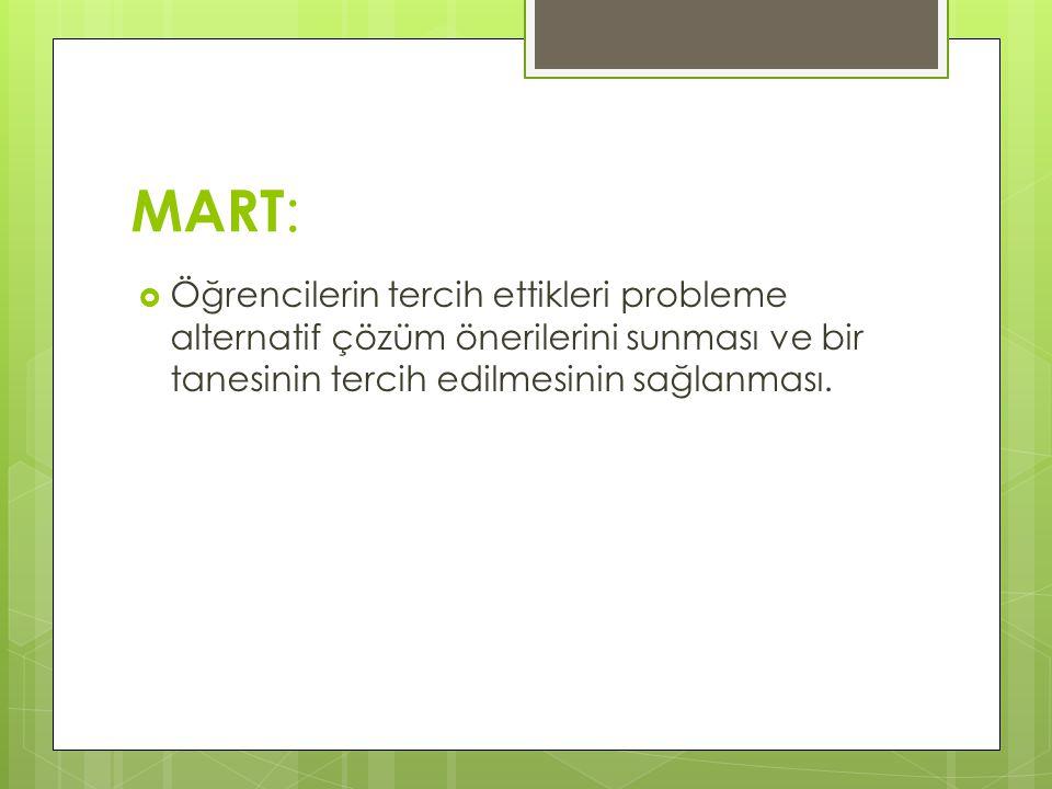 MART: Öğrencilerin tercih ettikleri probleme alternatif çözüm önerilerini sunması ve bir tanesinin tercih edilmesinin sağlanması.