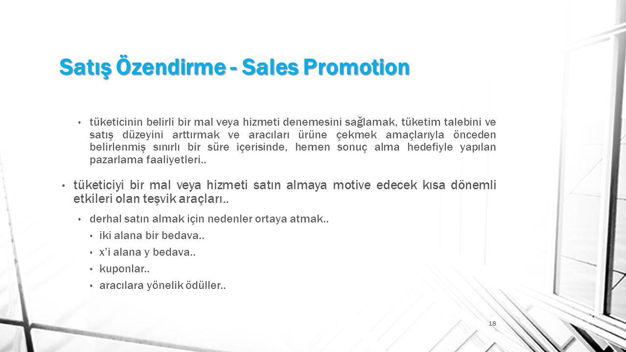 Satış Özendirme - Sales Promotion