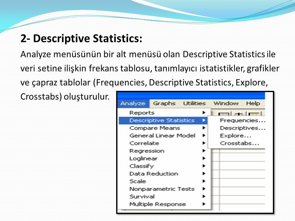 2- Descriptive Statistics: