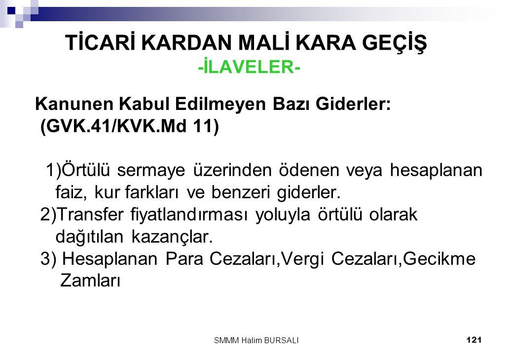 TİCARİ KARDAN MALİ KARA GEÇİŞ -İLAVELER-