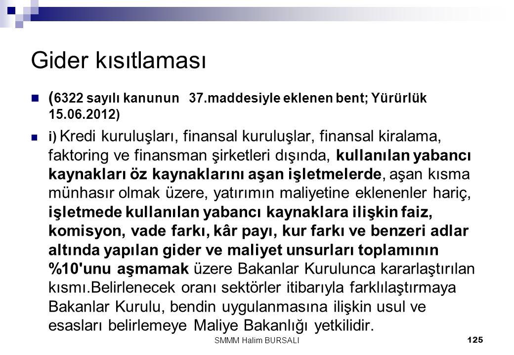 Gider kısıtlaması (6322 sayılı kanunun 37.maddesiyle eklenen bent; Yürürlük 15.06.2012)