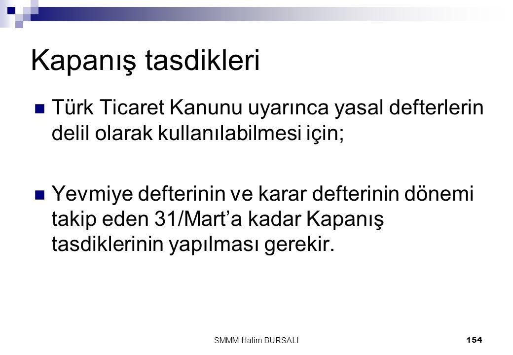 Kapanış tasdikleri Türk Ticaret Kanunu uyarınca yasal defterlerin delil olarak kullanılabilmesi için;