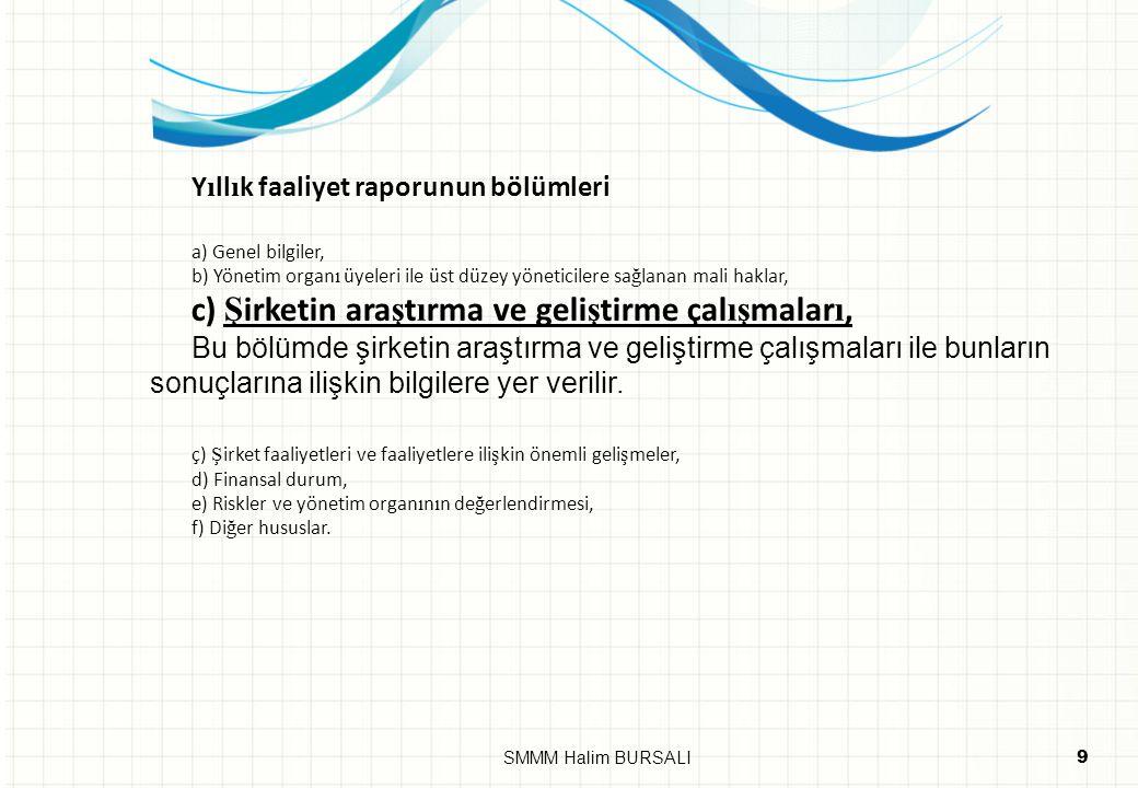 c) Şirketin araştırma ve geliştirme çalışmaları,
